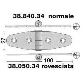 OSCULATI Charnière inox 101x27mm