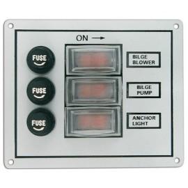 Tableau électrique  3 interrupteurs pour cabine