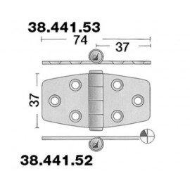 Charnière inox 74x37mm