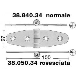 Charnière inox 101x27mm