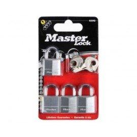 MASTERLOCK Pack de 4 Cadenas 20mm en laiton massif chromé